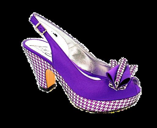 Tina, trendy chess platform wedges in purple
