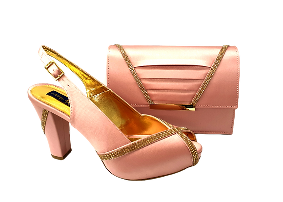 Lucia, blush Mary Shoes mid-height platform shoes and matching bag set