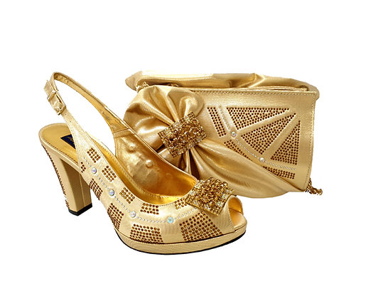 Emma, MaryShoes gold mid-height wedding shoes and matching bag set