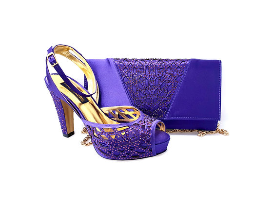 Alexa, Mary Shoes purple laser-cut high heel wedding shoes and matching bag set