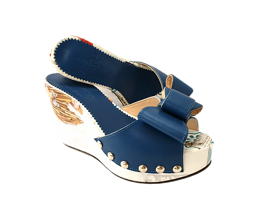 Beatrice, Mary Shoes blue floral wedges