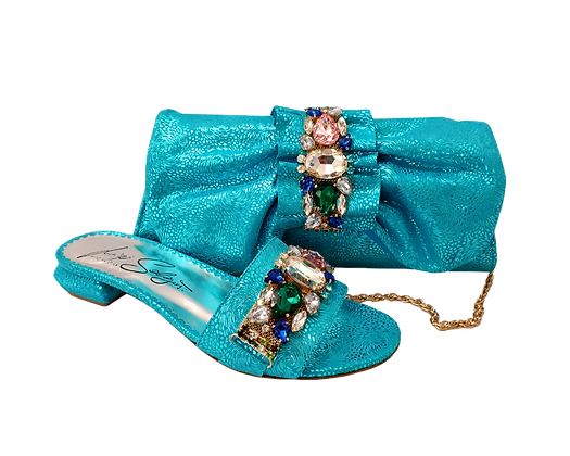 Valerie,  jewel embellished turquoise low wedding sandals and matching bag