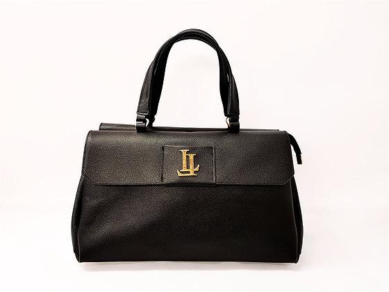 Lavinia Medium Black Tote Textured Leather Handbag