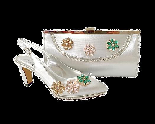 Sophia, Salgati silver mid-height half-shoes and matching bag set