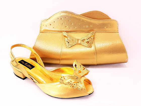 Stella, Mary Shoes gold very low heel wedding shoes and bag set