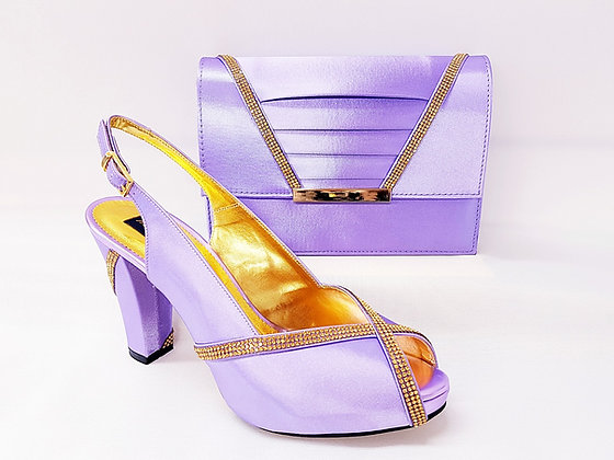 Lucia, lilac Mary Shoes mid-height platform shoes and matching bag set