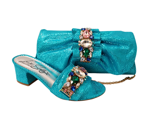 Valerie,  jewel embellished turquoise wedding sandals and matching bag