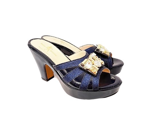 Navy Mary Shoes wet-look platform sandals