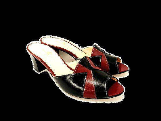 Alice, burgundy and black mid block heel sandals