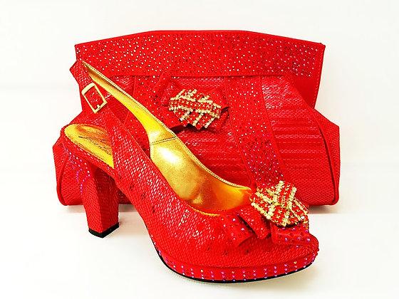 Sharon, Salgati red mid-height platform shoes and bag set
