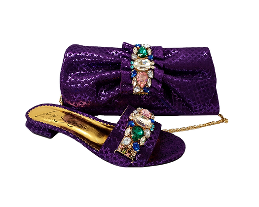 Valerie, jewel embellished purple low wedding sandals and matching bag