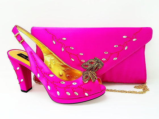 Fleur, Mary Shoes pink crystal-adorned mid-height platform wedding set