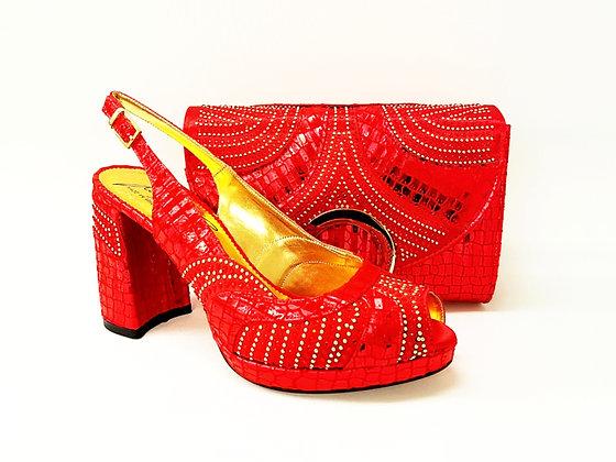 Lizzy, Salgati red block heel wedding shoes and bag set
