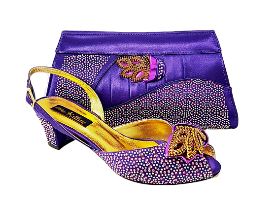 Chiara, purple stone adorned low heel wedding shoes and bag