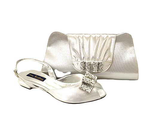 Ava, Mary Shoes silver very low wedding shoes and matching bag