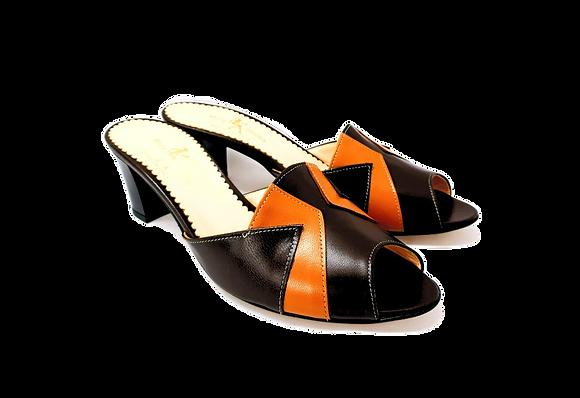Alice, brown and camel mid block heel sandals
