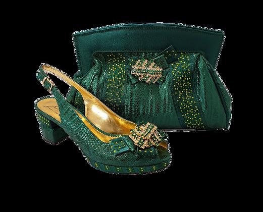 Sharon, Salgati emerald low heel wedding shoes and matching bag set