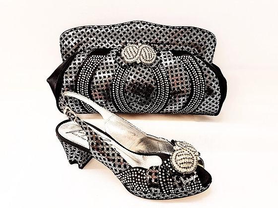 Florence, Salgati black & silver low heel platform wedding shoes and bag set