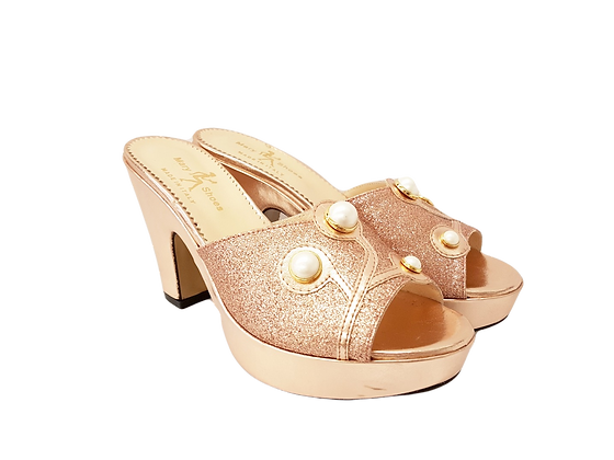 Rose-gold Mary Shoes pearl platform sandals