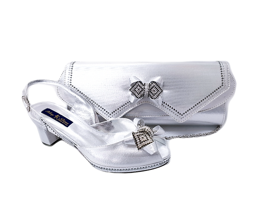 Elaine, Mary Shoes silver low heel wedding shoes and matching bag set
