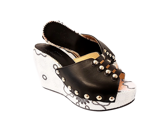 Blossom, Mary Shoes black and white floral wedge