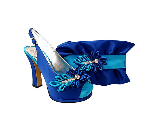 Ruby, Salgati blue-turquoise high heel occasion shoes and matching bag set