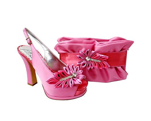 Ruby, Salgati pink high heel occasion shoes and matching bag set