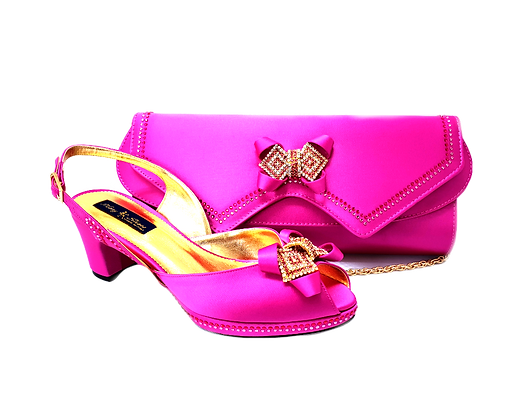 Elaine, Mary Shoes pink low heel wedding shoes and matching bag set
