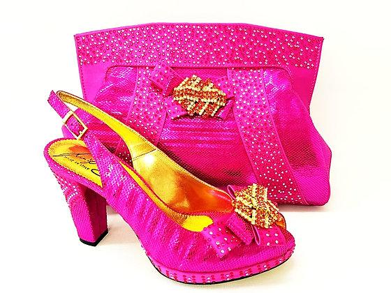 Sharon, Salgati pink mid-height platform shoes and bag set