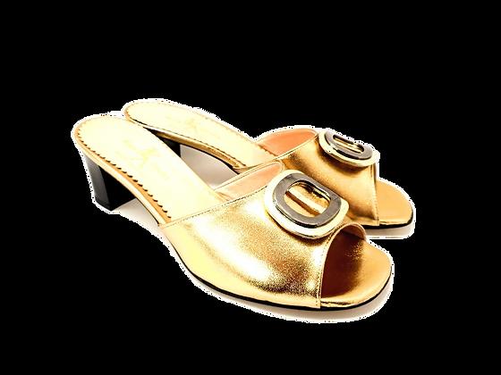 Olivia, gold mid block heel sandals