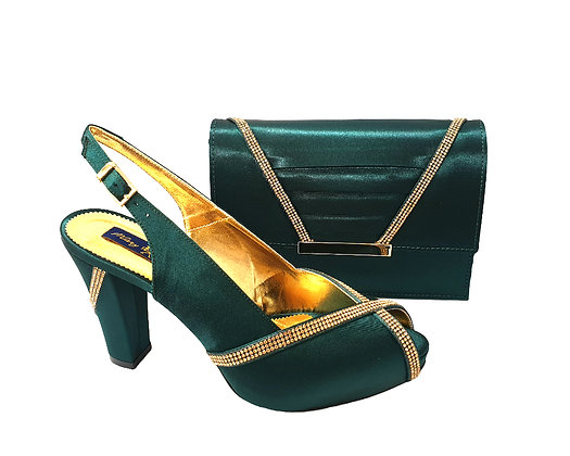 Lucia, emerald Mary Shoes mid-height platform shoes and matching bag set