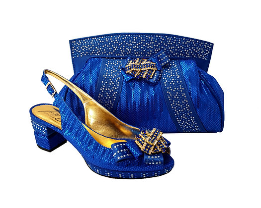 Sharon, Salgati blue low heel wedding shoes and matching bag set