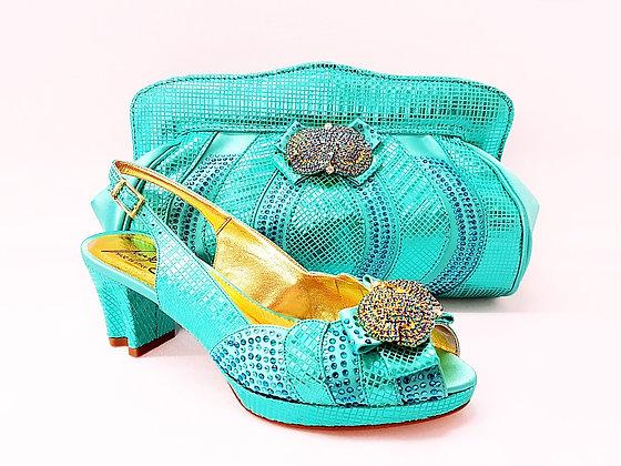 Florence, Salgati aqua low heel platform wedding shoes and bag set