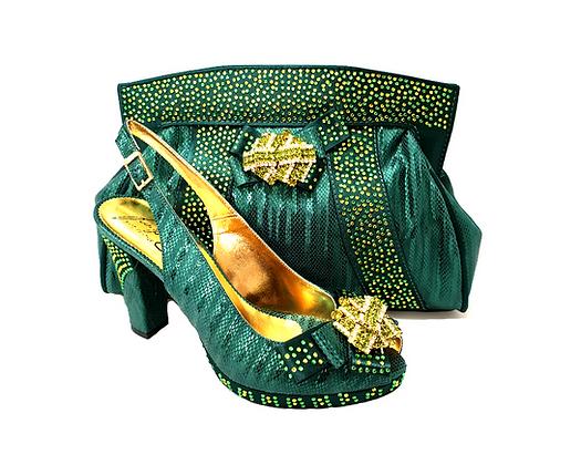 Sharon, Salgati emerald mid-height platform shoes and bag set