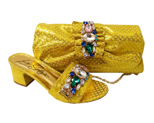 Valerie,  jewel embellished yellow wedding sandals and matching bag