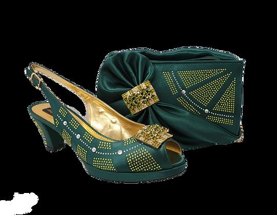 Emma, emerald low heel wedding shoes and matching bag set