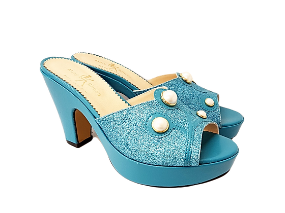 Turquoise Mary Shoes pearl platform sandals