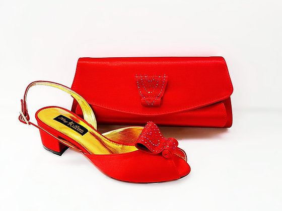 Poppy, red Mary Shoes low chunky heel wedding shoes and bag set