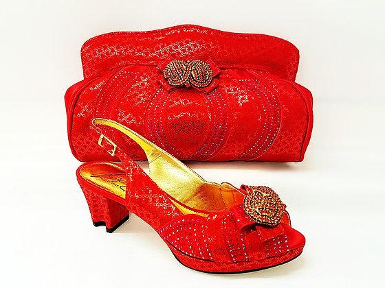 Florence, Salgati red low heel platform wedding shoes and bag set