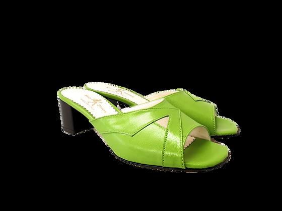 Barbara, lemon mid block heel sandals