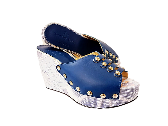 Blossom, Mary Shoes blue floral wedge