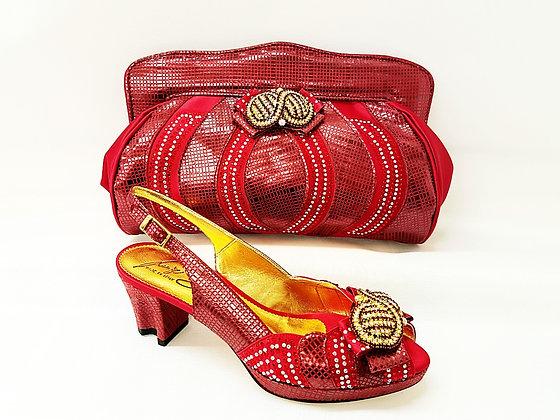Florence, Salgati burgundy low heel platform wedding shoes and bag set