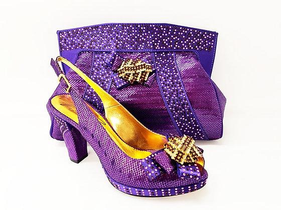 Sharon, Salgati purple mid-height platform shoes and bag set