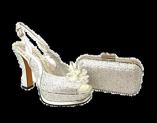 Salgati, Cinderella, silver-crystal shoes and matching bag set