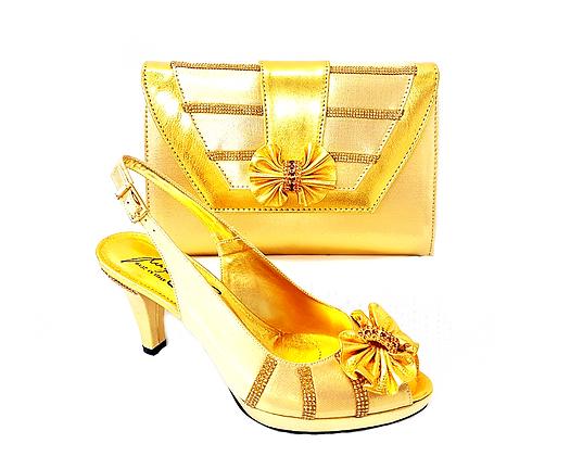 Solen, Salgati gold mid-height strass wedding set
