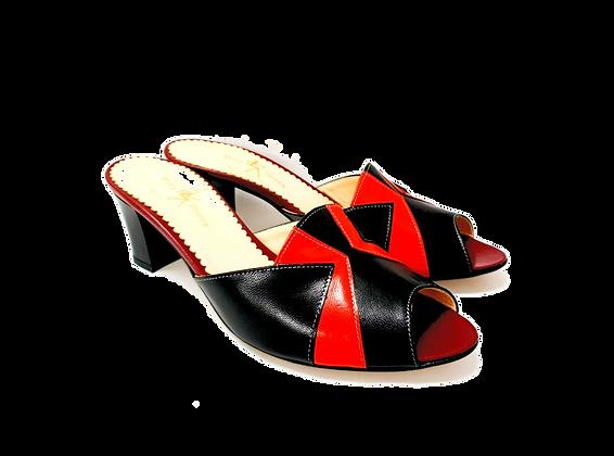 Alice, black and red mid block heel sandals