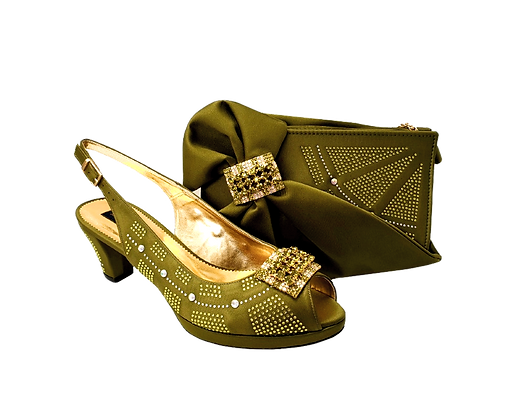 Emma, Mary Shoes olive-green low heel wedding shoes and matching bag set