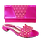 Thumbnail: Fiorella, purple laser-cut low wedding sandals and matching bag set