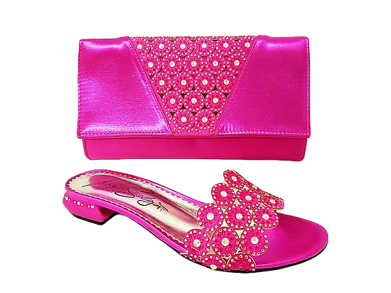 Fiorella, pink laser-cut low wedding sandals and matching bag