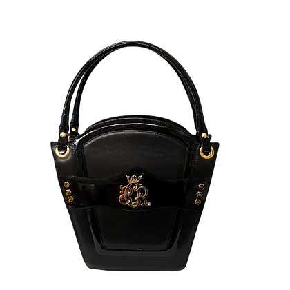 Cerruti 'Crown' black and wet-look limited edition leather handbag